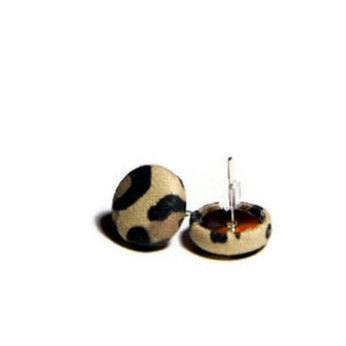 leopard print stud earrings, fabric earrings