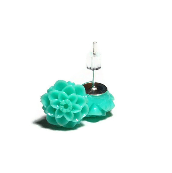 Resin Earrings, Aqua Chrysanthemum Resin Flower Stud Earrings