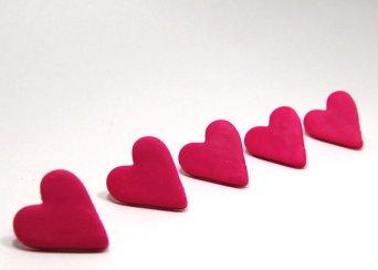 Thumbtacks, Pink Heart Polymer Clay Push Pins Size Small (set of 5)