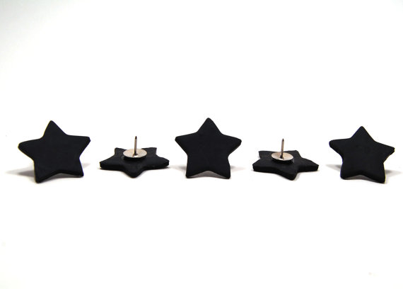 Thumbtacks, Black Star Polymer Clay Push Pins (set of 5)