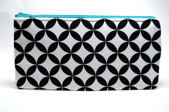 Zipper Bag, Black and White Geometric Pattern Zipper Pouch w/ Brigt Blue Zipper 9x5