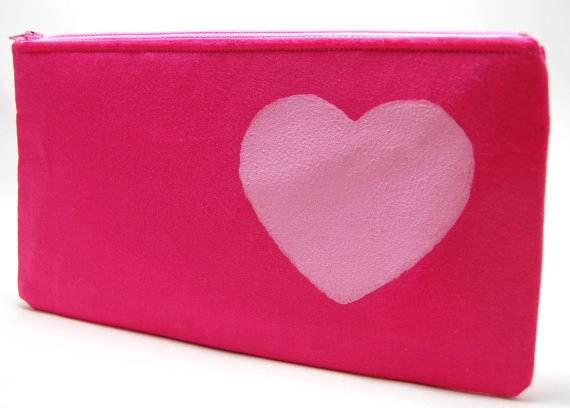 Zipper Bag, Bright Pink Zipper Pouch w/ Pale Pink Heart 9x5