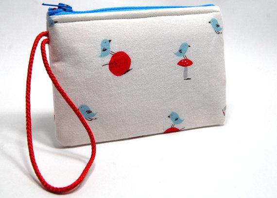 blue bird zipper bag zipper pouch
