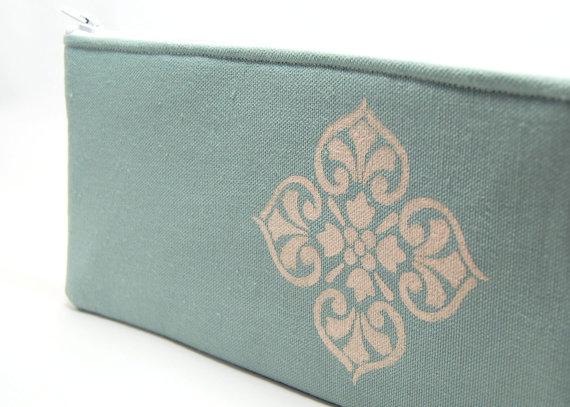 zipper pouch, zipper pouch, pink stencil, makeup bag, cosmetic bag, clutch purse, handmade gift