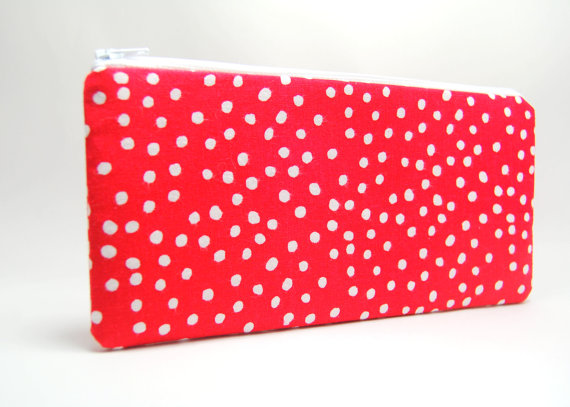 Zipper Pouch, Red and White Polka Dot Fabric Zipper Bag 9x5