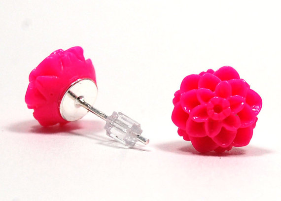 resin earring resin jewelry bright pink flower resin jewelry earrings