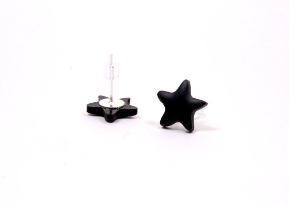 polymer earrings black star stud earrings post earrings