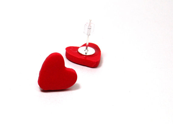 red heart handmade gift stud earrings post earring red heart jewelry valentines day jewelry