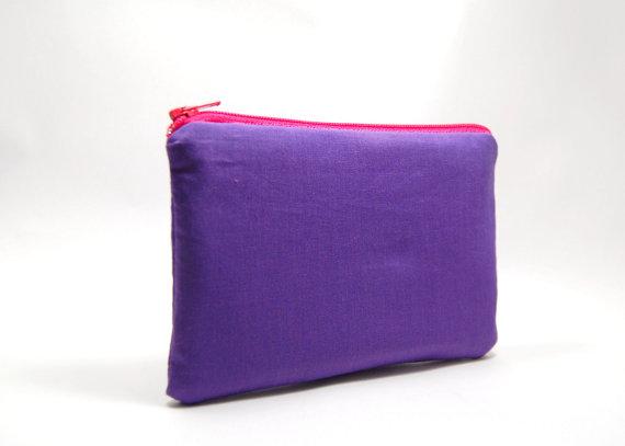 zipper bag purple and pink coin purse zipper pouch