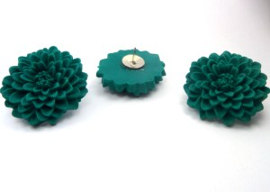 emerald green flower push pins office supplies handmade polymer clay  (2)