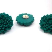 Emerald Green Flower Push Pins