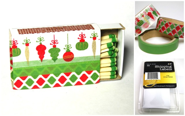 DIY washi tape decorative Christmas matchboxes